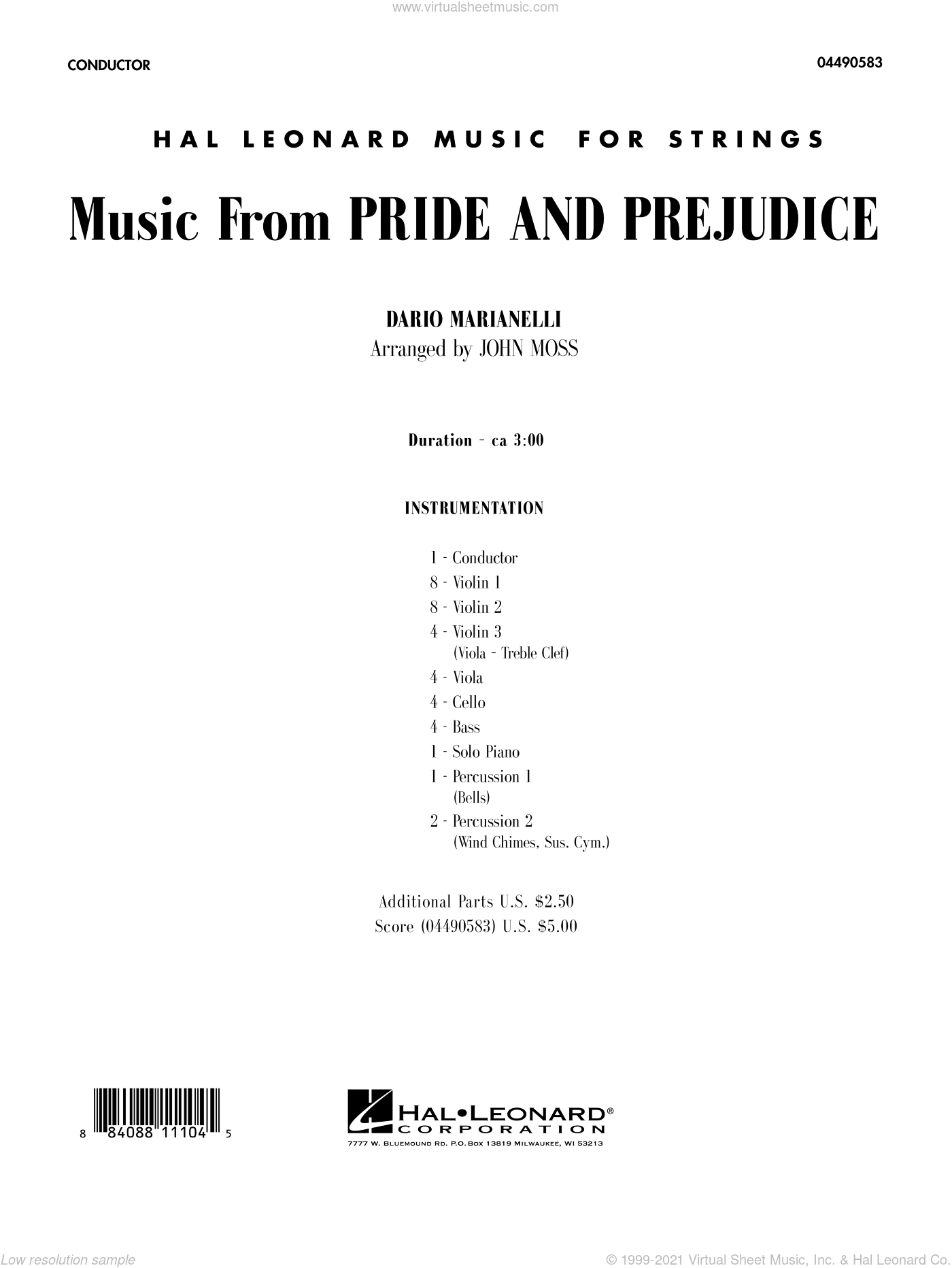 Music from Pride and Prejudice sheet music for orchestra (full score) by Dario Marianelli