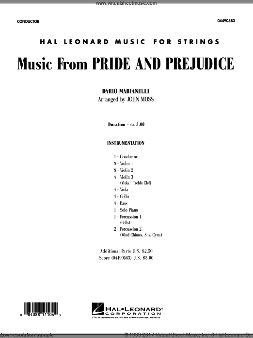 Prejudice (COMPLETE) sheet music for orchestra by Dario Marianelli