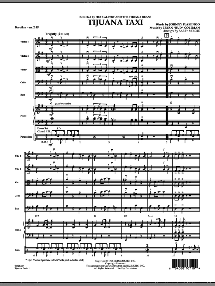 Tijuana Taxi sheet music for orchestra (full score) by Ervan