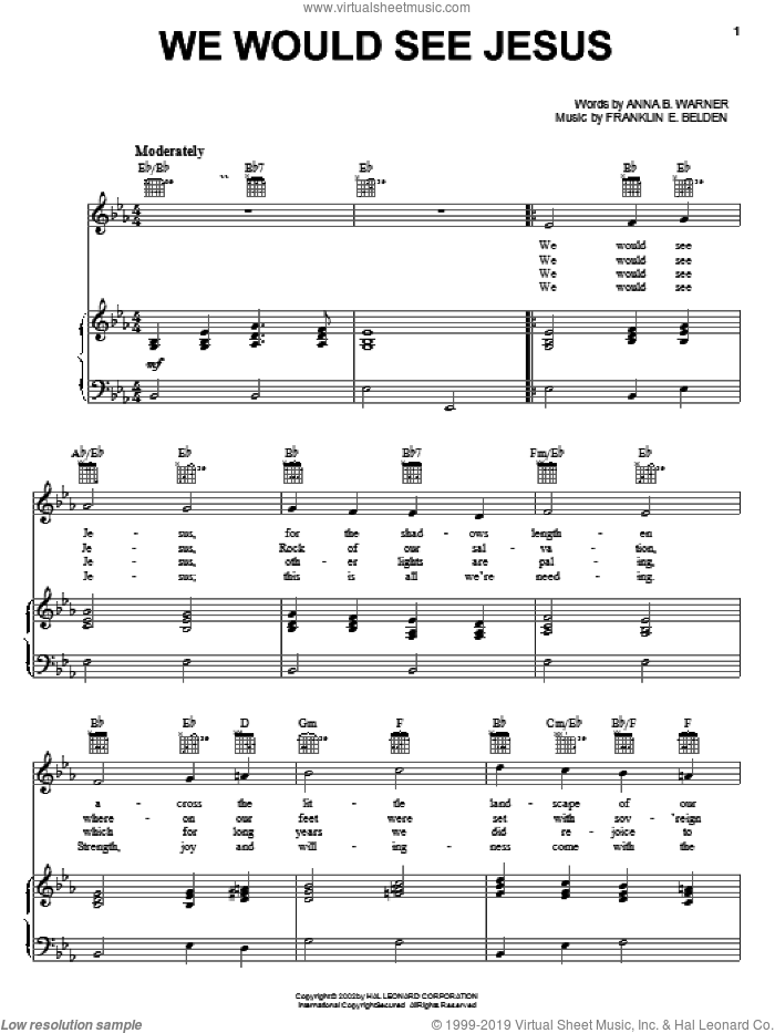 We Would See Jesus sheet music for voice, piano or guitar by Anna B. Warner and Franklin E. Belden, intermediate skill level