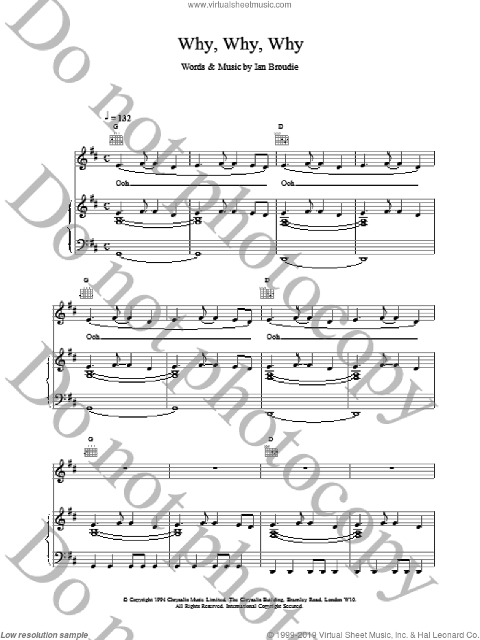 Why, Why, Why sheet music for voice, piano or guitar by The Lightning Seeds and Ian Broudie, intermediate