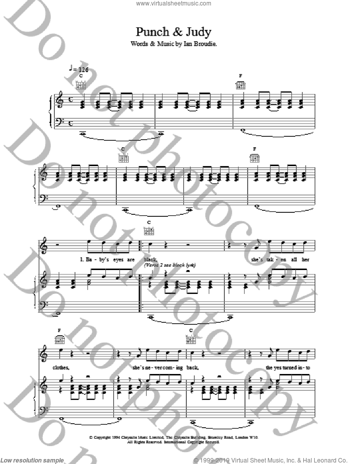 Punch and Judy sheet music for voice, piano or guitar by The Lightning Seeds, intermediate voice, piano or guitar. Score Image Preview.