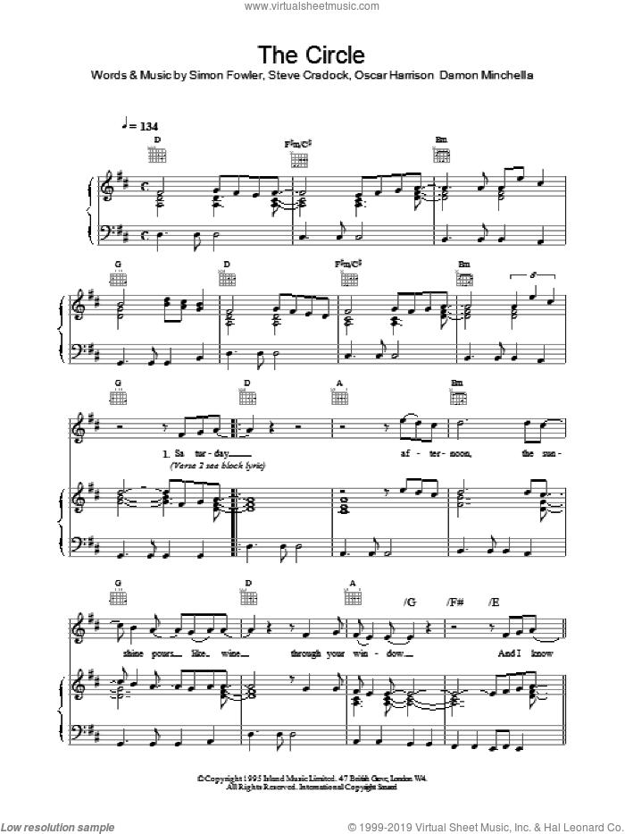 The Circle sheet music for voice, piano or guitar