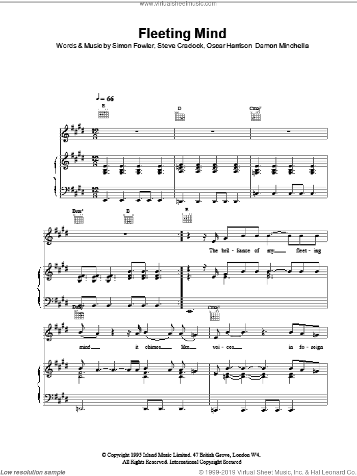 Fleeting Mind sheet music for voice, piano or guitar by Steve Cradock, Ocean Colour Scene and Oscar Harrison. Score Image Preview.