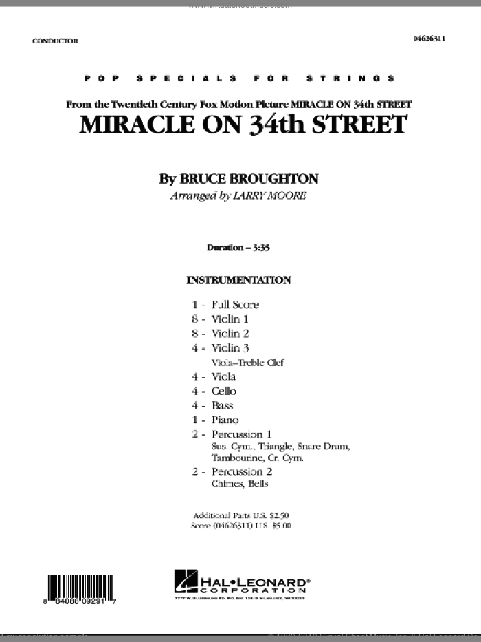 Miracle On 34th Street (COMPLETE) sheet music for orchestra by Bruce Broughton and Larry Moore, intermediate. Score Image Preview.