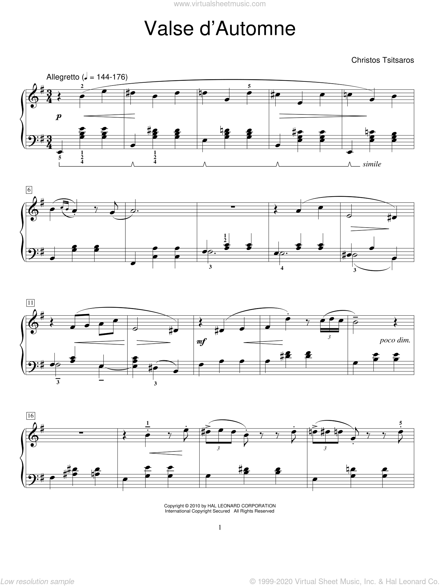 Valse D'Automne sheet music for piano solo (elementary) by Christos Tsitsaros