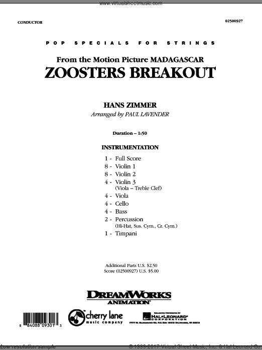 Zoosters Breakout (from Madagascar) (COMPLETE) sheet music for orchestra by Hans Zimmer