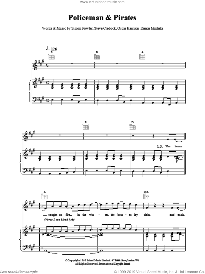Policemen and Pirates sheet music for voice, piano or guitar by Ocean Colour Scene and Miscellaneous, intermediate. Score Image Preview.
