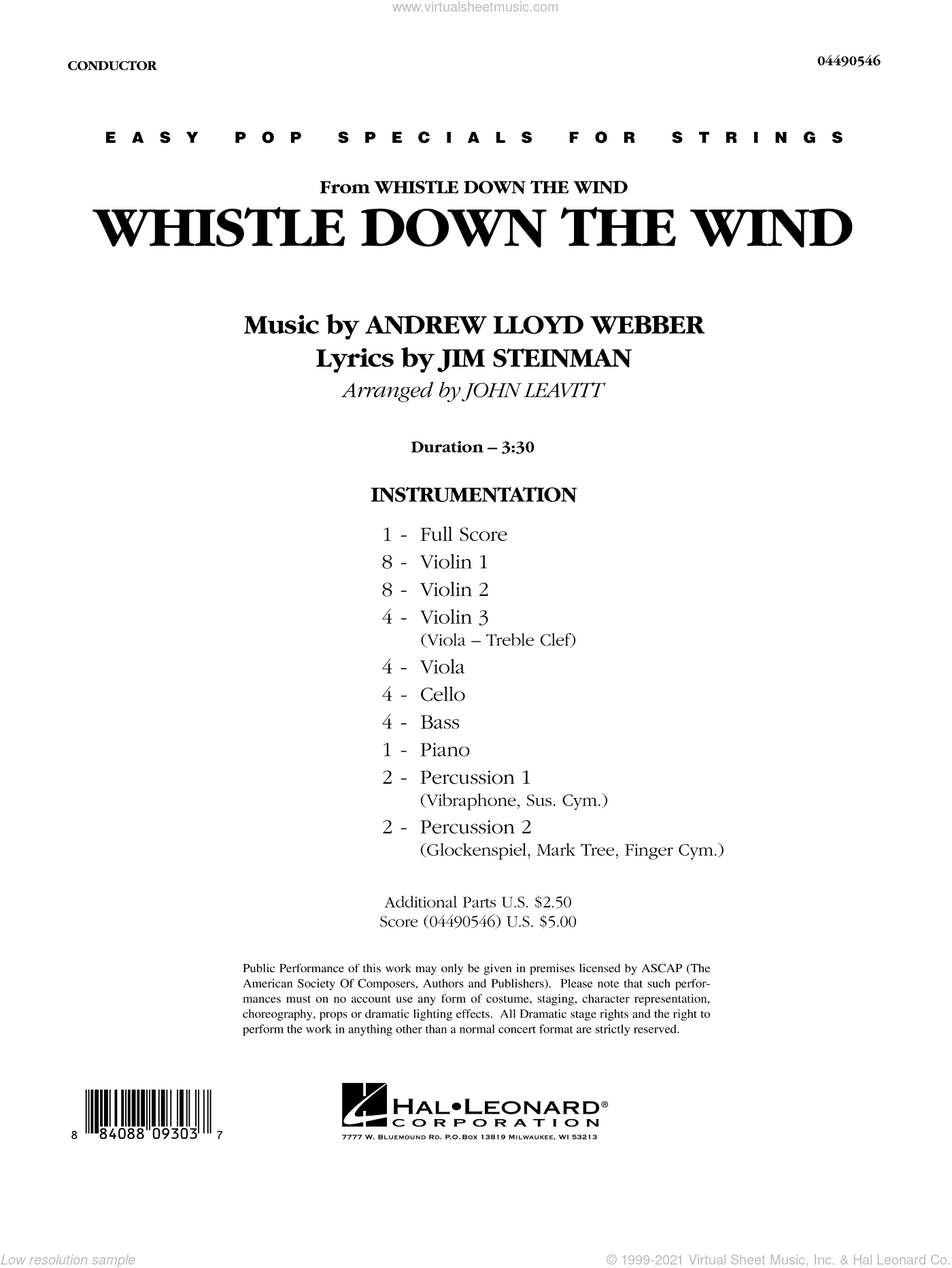 Whistle Down The Wind sheet music for orchestra (full score) by Andrew Lloyd Webber