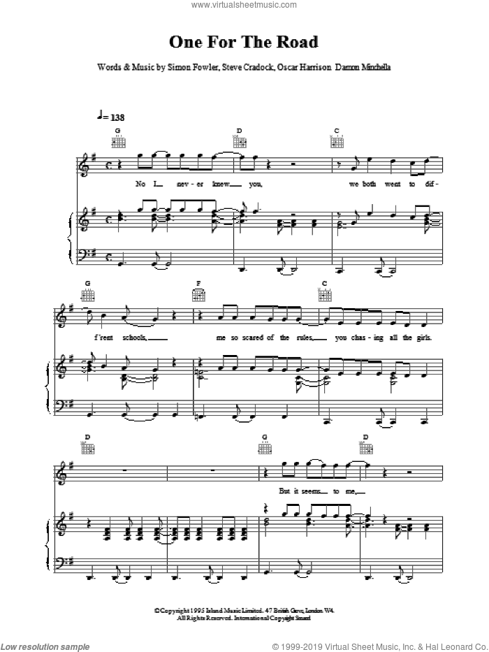 One For The Road sheet music for voice, piano or guitar