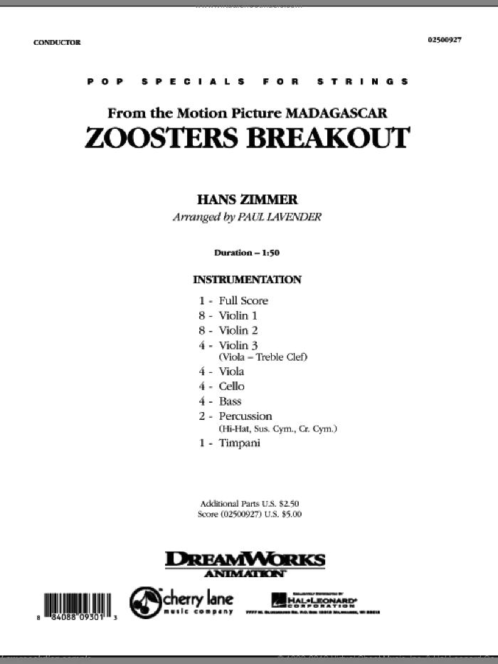 Zoosters Breakout (from Madagascar) (COMPLETE) sheet music for orchestra by Hans Zimmer and Paul Lavender, intermediate skill level