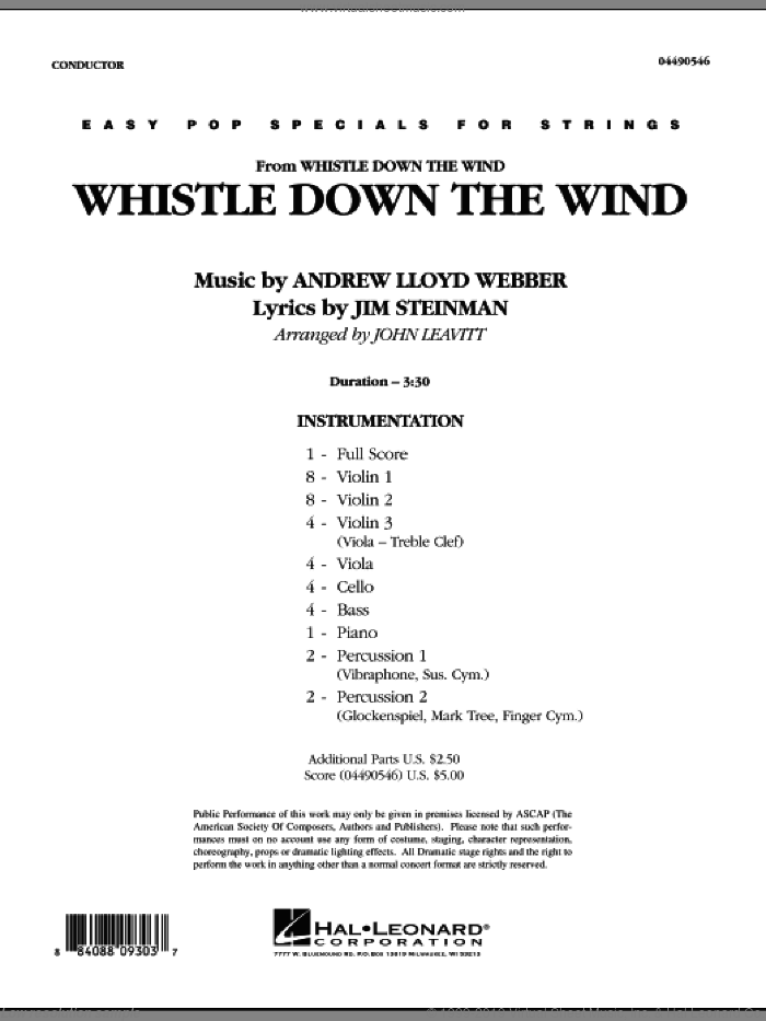 Whistle Down The Wind (COMPLETE) sheet music for orchestra by Andrew Lloyd Webber, Jim Steinman and John Leavitt, intermediate skill level
