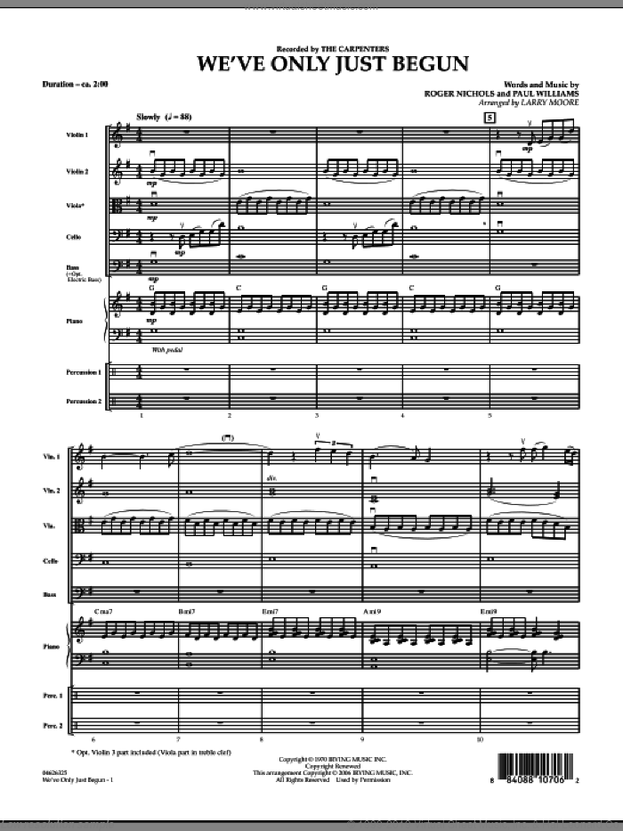 We've Only Just Begun (COMPLETE) sheet music for orchestra by Paul Williams, Carpenters and Larry Moore, intermediate. Score Image Preview.
