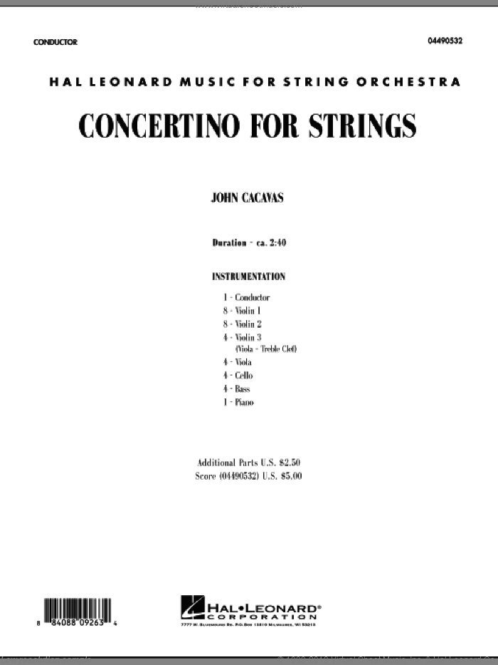 Concertino For Strings sheet music for orchestra (full score) by John Cacavas