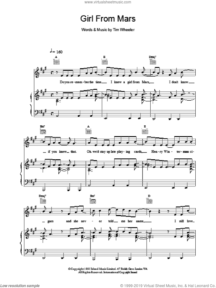 Girl From Mars sheet music for voice, piano or guitar by TIM WHEELER, intermediate voice, piano or guitar. Score Image Preview.