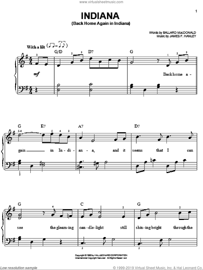 Indiana (Back Home Again In Indiana) sheet music for piano solo by Ballard MacDonald, Early Jazz Standard and James Hanley, easy skill level