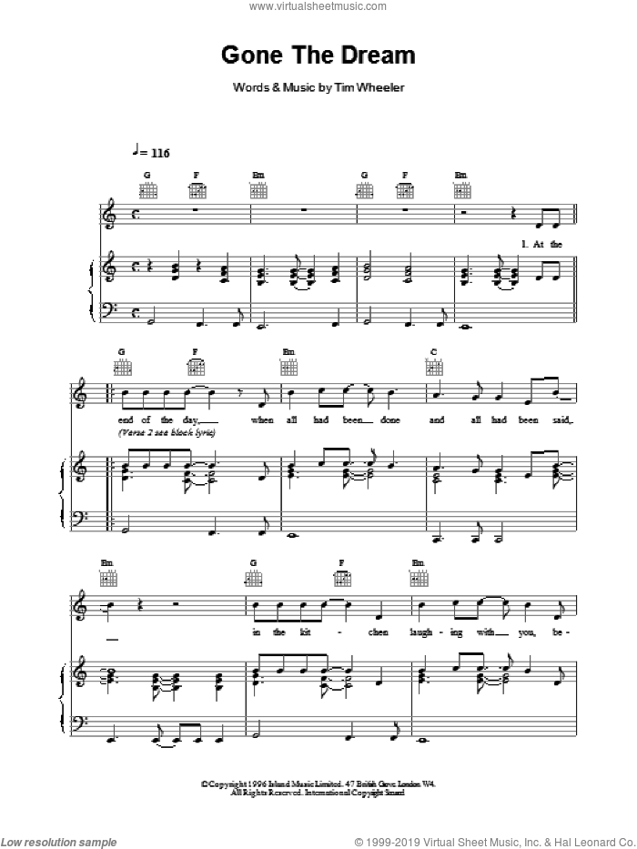 Gone The Dream sheet music for voice, piano or guitar by TIM WHEELER, intermediate skill level