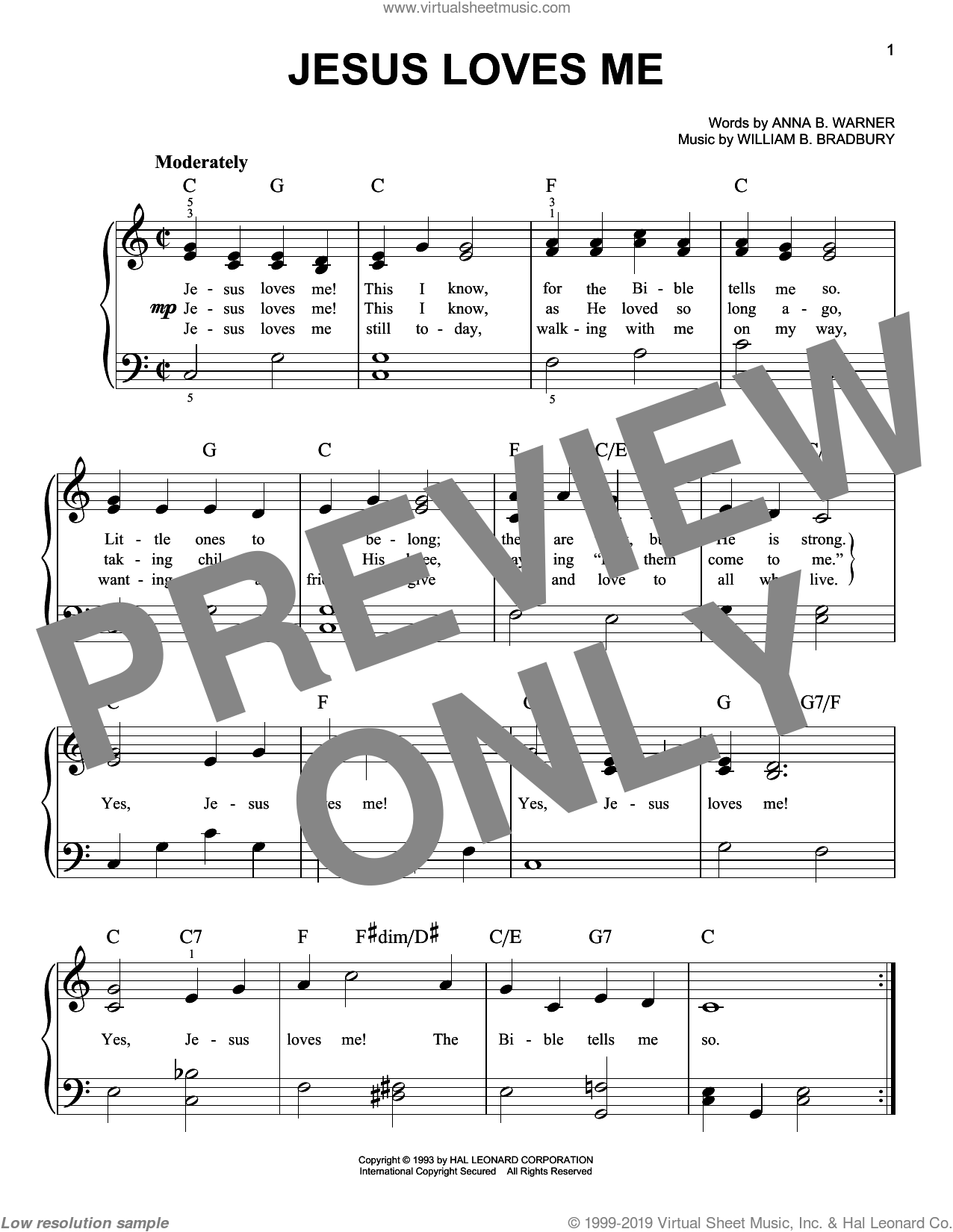 Jesus Loves Me sheet music for piano solo by Anna B. Warner and William B. Bradbury, easy skill level