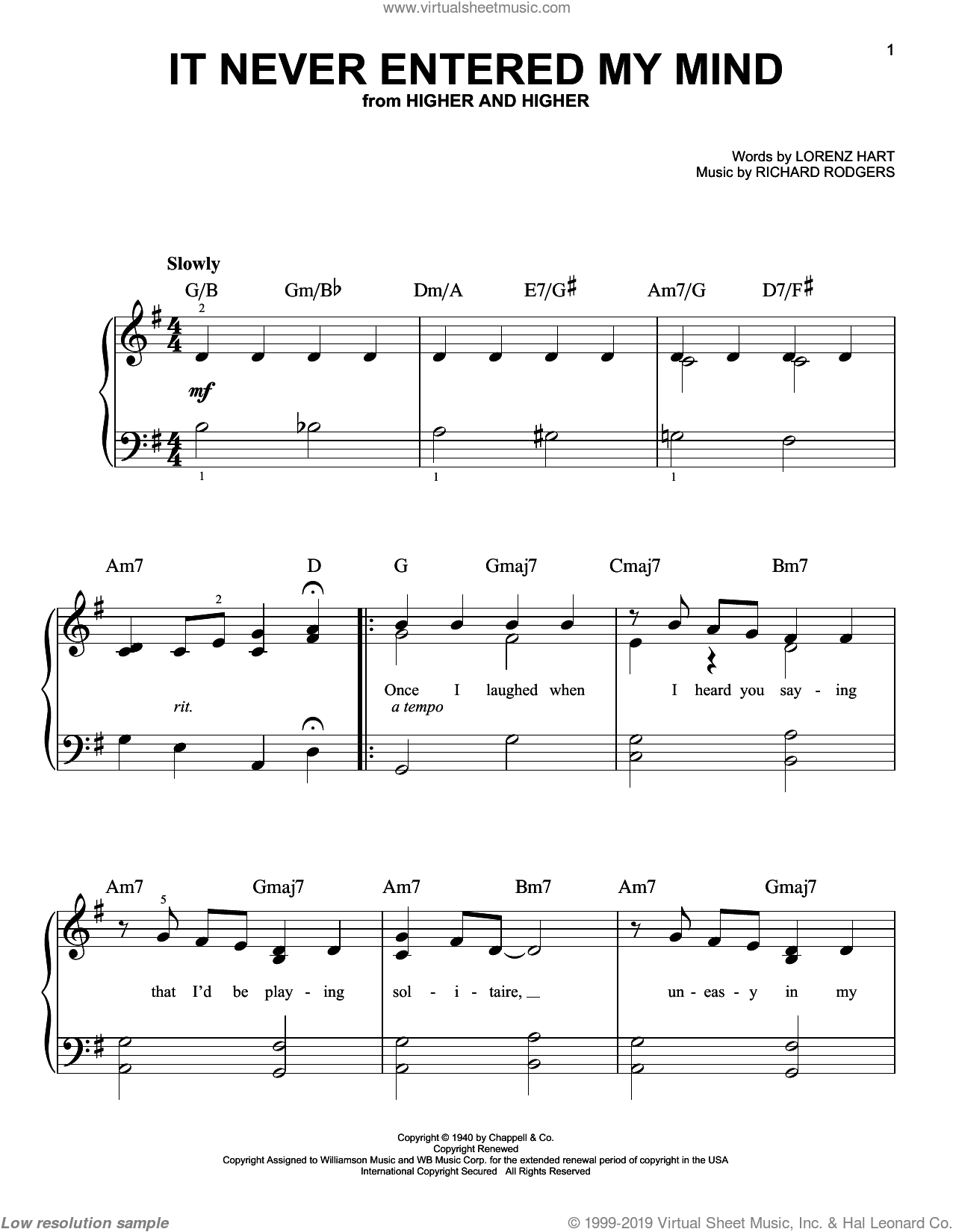 It Never Entered My Mind sheet music for piano solo by Rodgers & Hart, Lorenz Hart and Richard Rodgers, easy skill level
