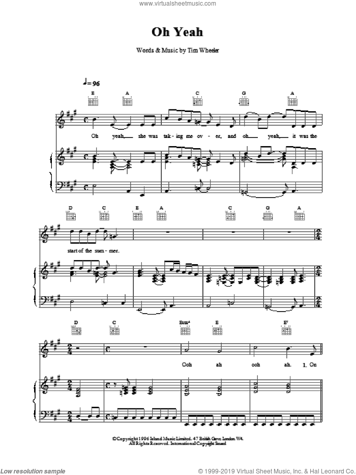 Oh Yeah sheet music for voice, piano or guitar by TIM WHEELER, intermediate voice, piano or guitar. Score Image Preview.