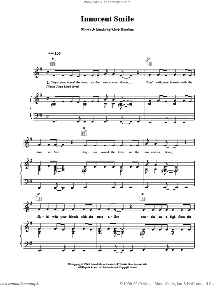 Innocent Smile sheet music for voice, piano or guitar by Mark Hamilton and Tim Wheeler. Score Image Preview.