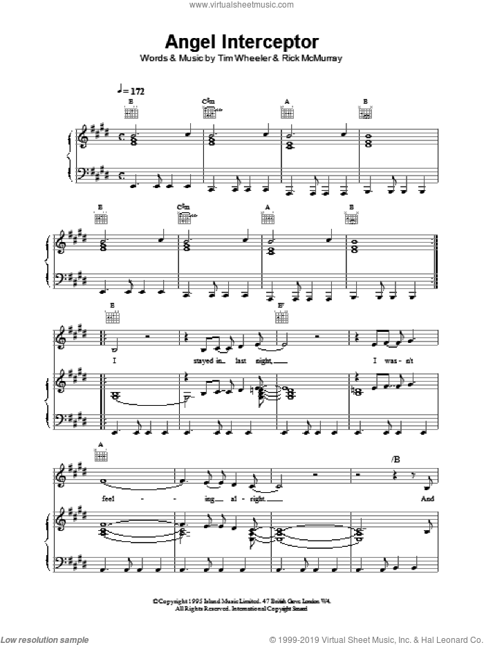 Angel Interceptor sheet music for voice, piano or guitar by Tim Wheeler. Score Image Preview.