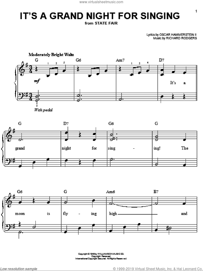 It's A Grand Night For Singing sheet music for piano solo by Rodgers & Hammerstein, State Fair (Musical), Oscar II Hammerstein and Richard Rodgers, easy skill level