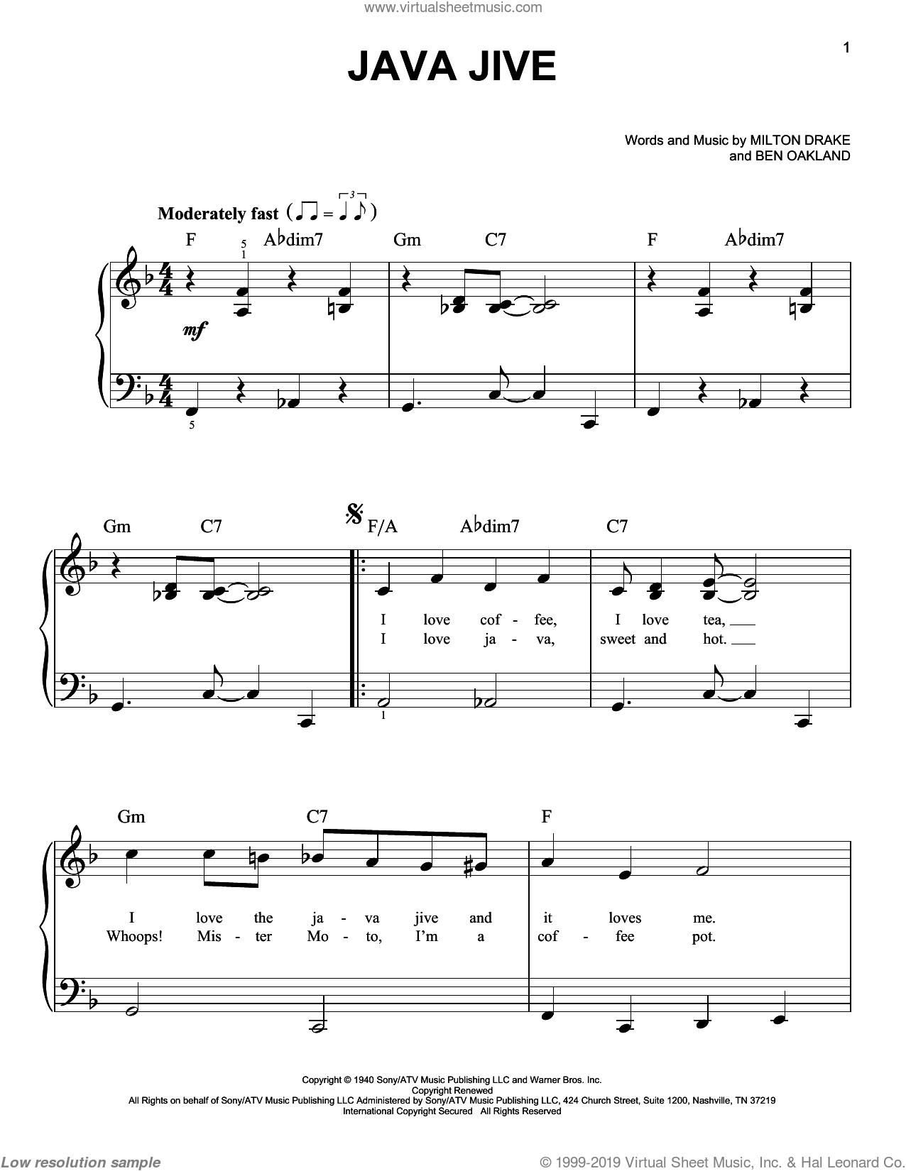 Java Jive sheet music for piano solo by The Ink Spots, Ben Oakland and Milton Drake, easy skill level