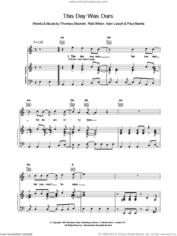 This Day Was Ours sheet music for voice, piano or guitar by Rich Witter and Shed Seven. Score Image Preview.