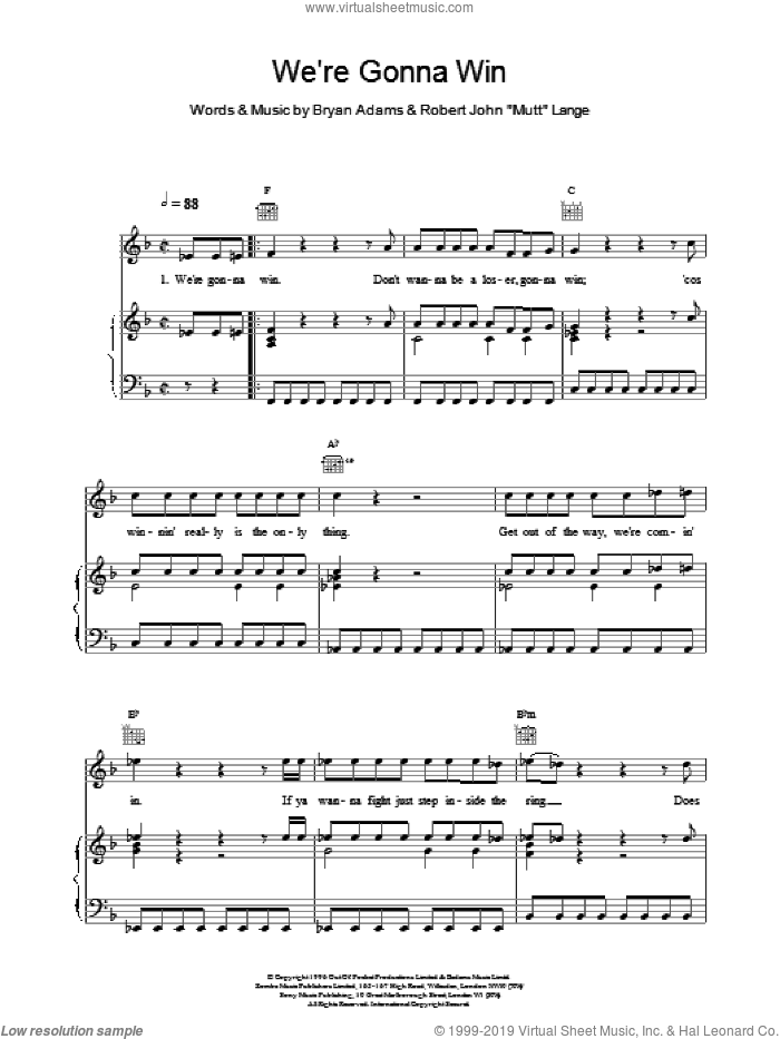 We're Gonna Win sheet music for voice, piano or guitar by Robert John Lange and Bryan Adams. Score Image Preview.