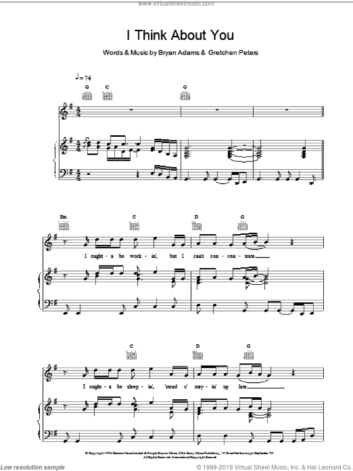 I Think About You sheet music for voice, piano or guitar by Bryan Adams, ADAMS and Gretchen Peters, intermediate skill level