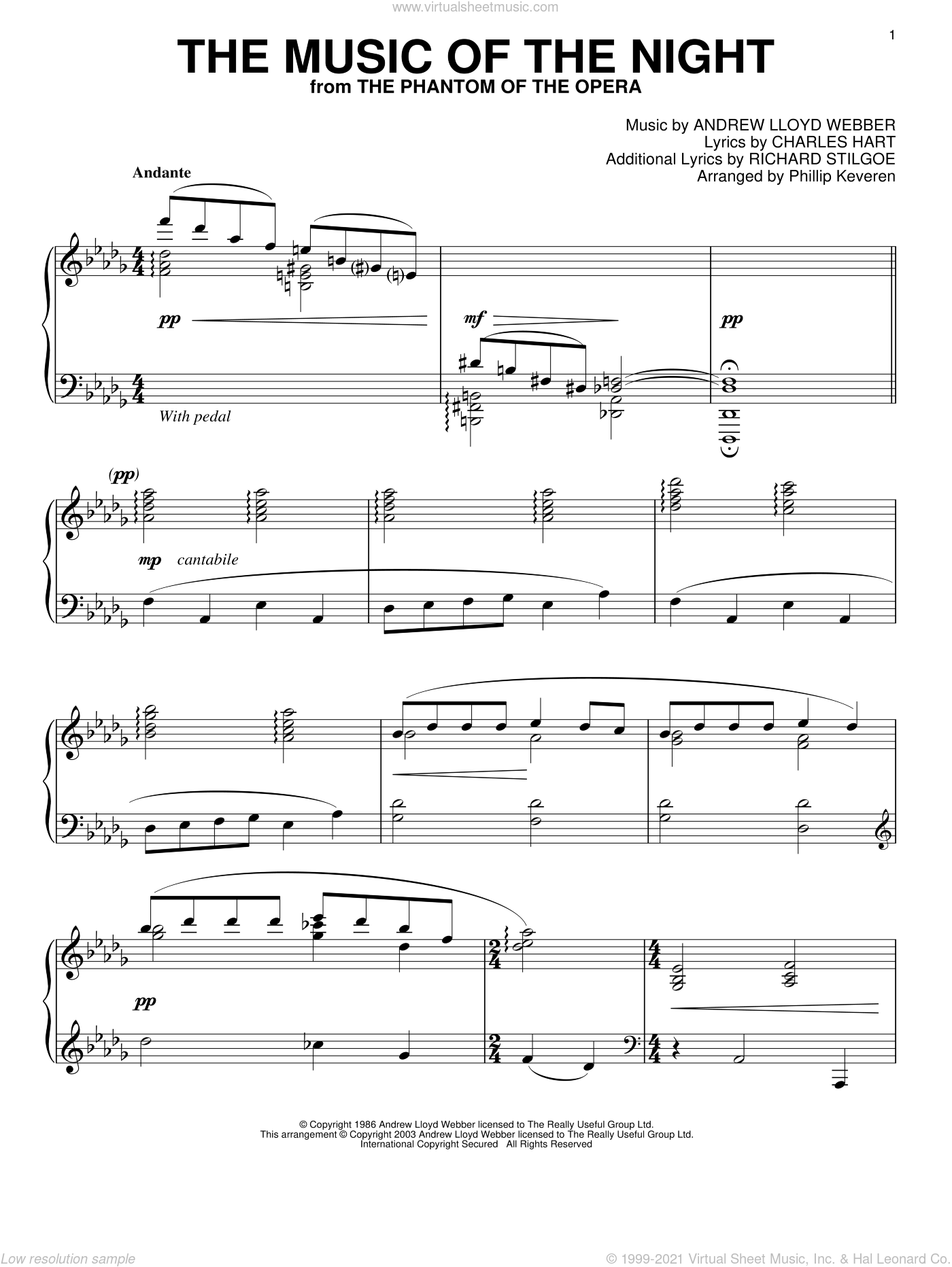 The Music Of The Night sheet music for piano solo by Richard Stilgoe