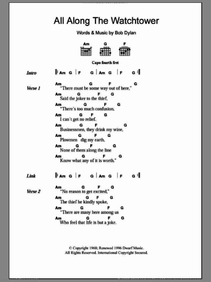 All Along The Watchtower sheet music for guitar (chords) by Bob Dylan and Jimi Hendrix. Score Image Preview.