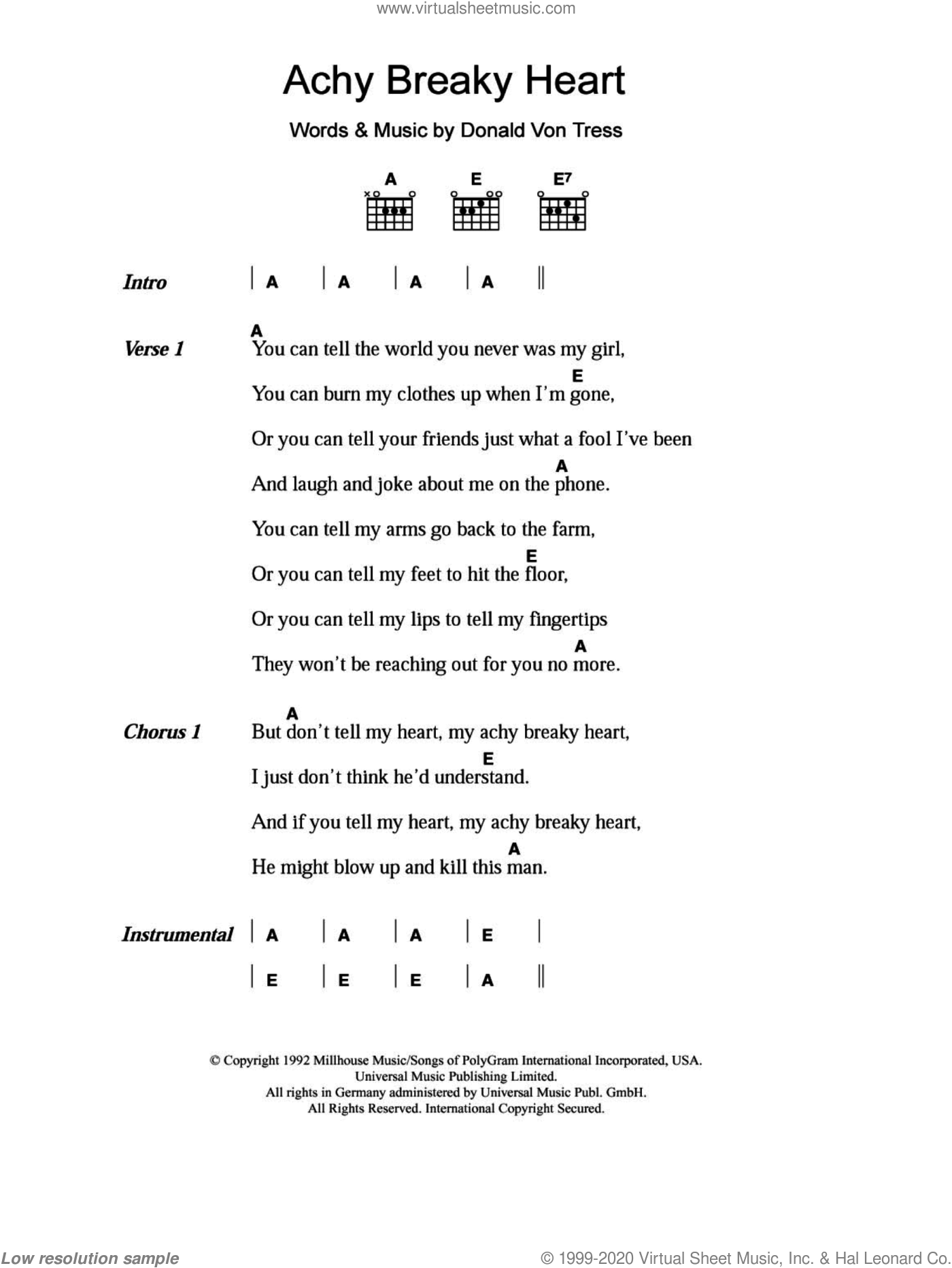 Achy Breaky Heart sheet music for guitar (chords) by Billy Ray Cyrus and Don Von Tress, intermediate skill level