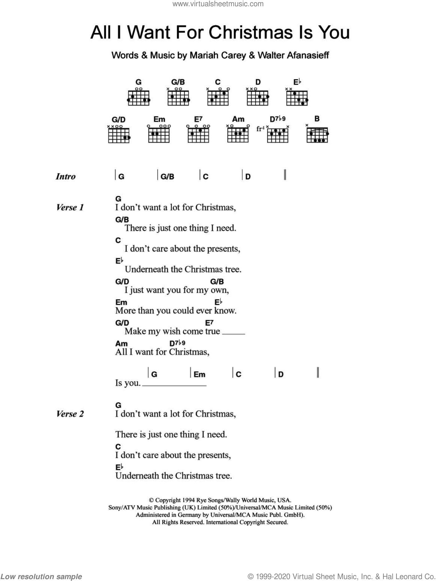 All I Want For Christmas Is You sheet music for guitar (chords) by Walter Afanasieff and Mariah Carey. Score Image Preview.