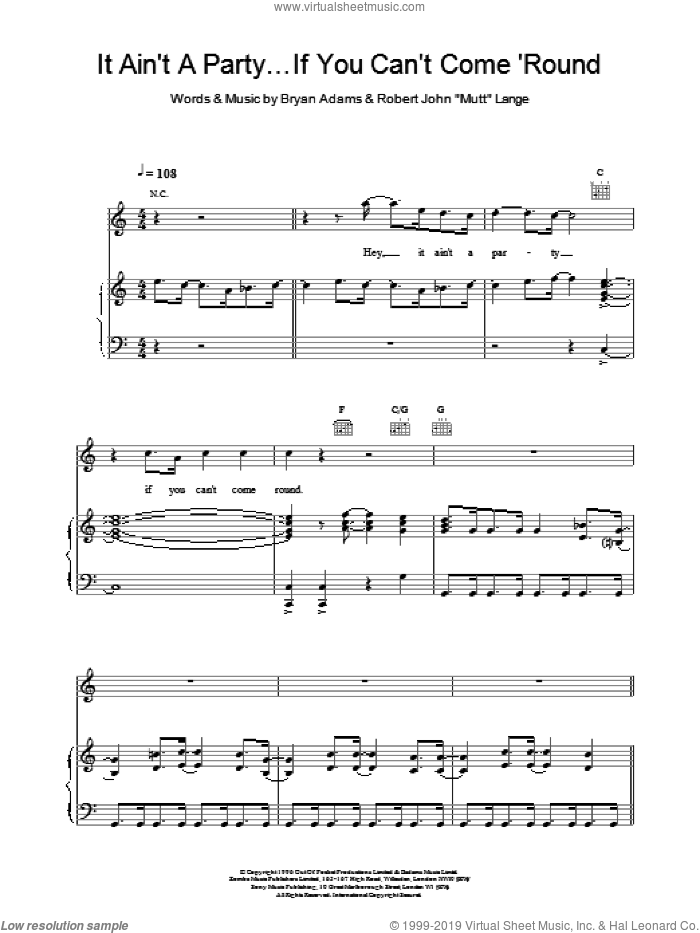 It Ain't A Party If You Can't Come Round sheet music for voice, piano or guitar by Bryan Adams, ADAMS and Robert John Lange, intermediate skill level
