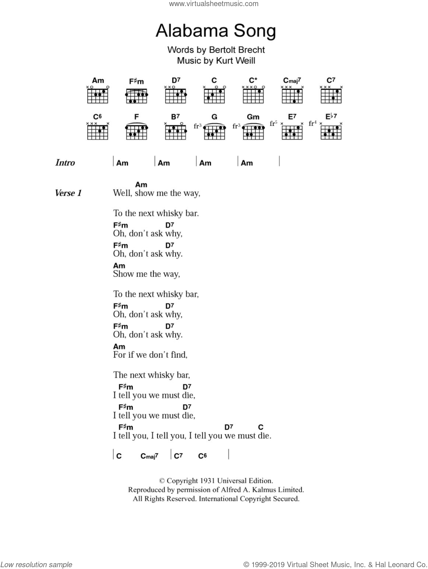 Alabama Song sheet music for guitar (chords) by Kurt Weill