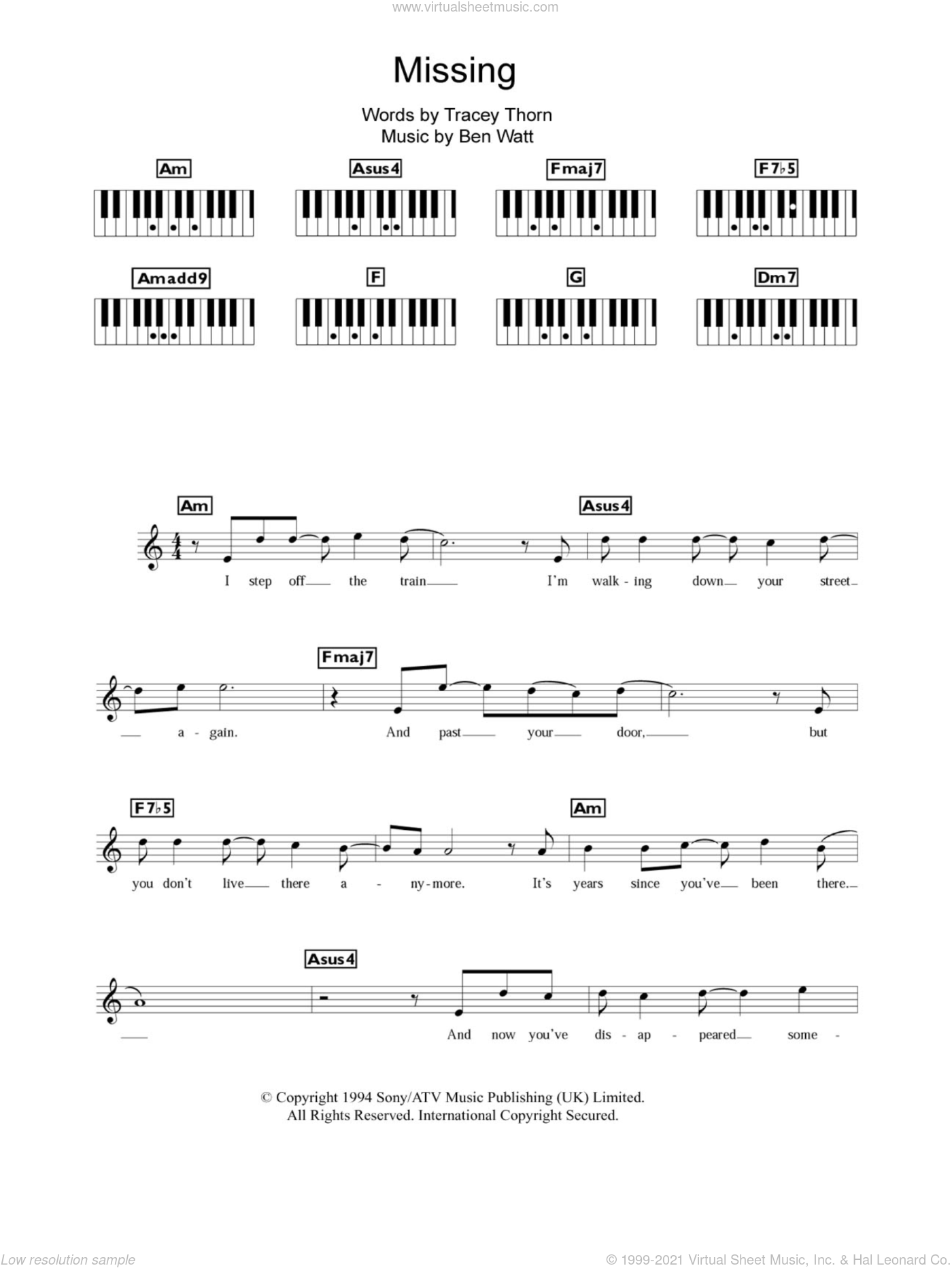 Missing sheet music for piano solo (chords, lyrics, melody) by Tracey Thorn