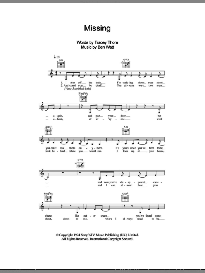 Missing sheet music for voice and other instruments (fake book) by Tracey Thorn, Everything But The Girl and Ben Watt. Score Image Preview.