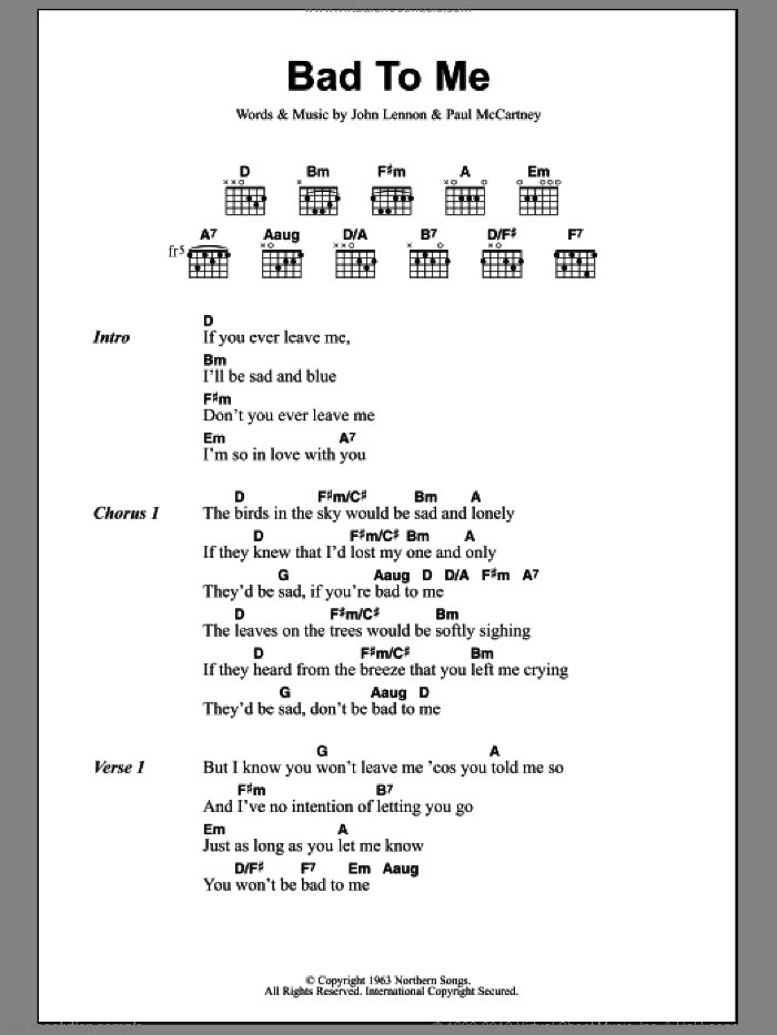 Bad To Me sheet music for guitar (chords) by The Beatles, John Lennon and Paul McCartney, intermediate skill level
