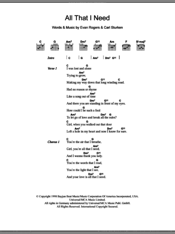 All That I Need sheet music for guitar (chords) by Evan Rogers and Boyzone. Score Image Preview.