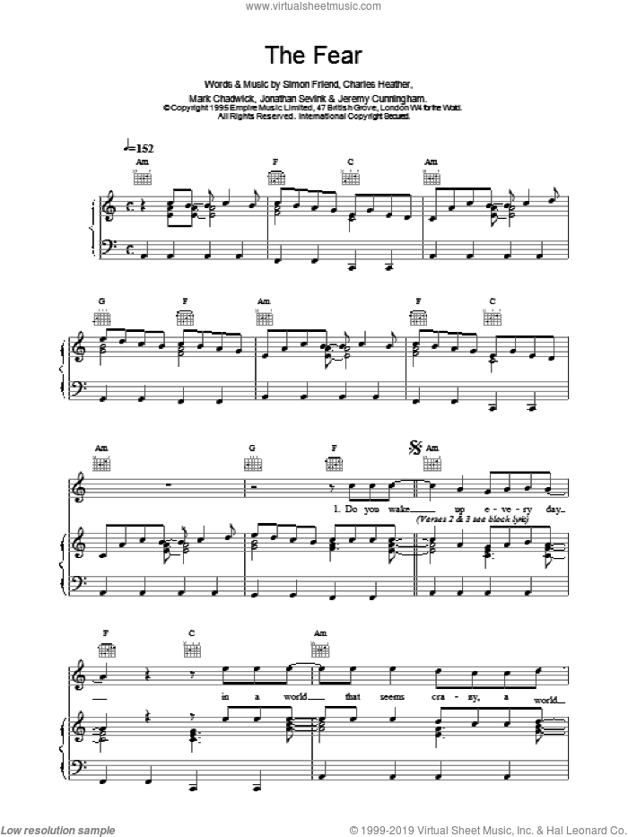 The Fear sheet music for voice, piano or guitar by Charles Heather and The Levellers. Score Image Preview.