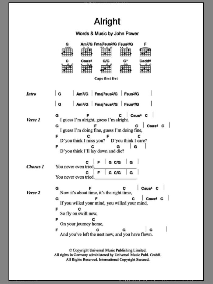 Alright sheet music for guitar (chords) by John Power