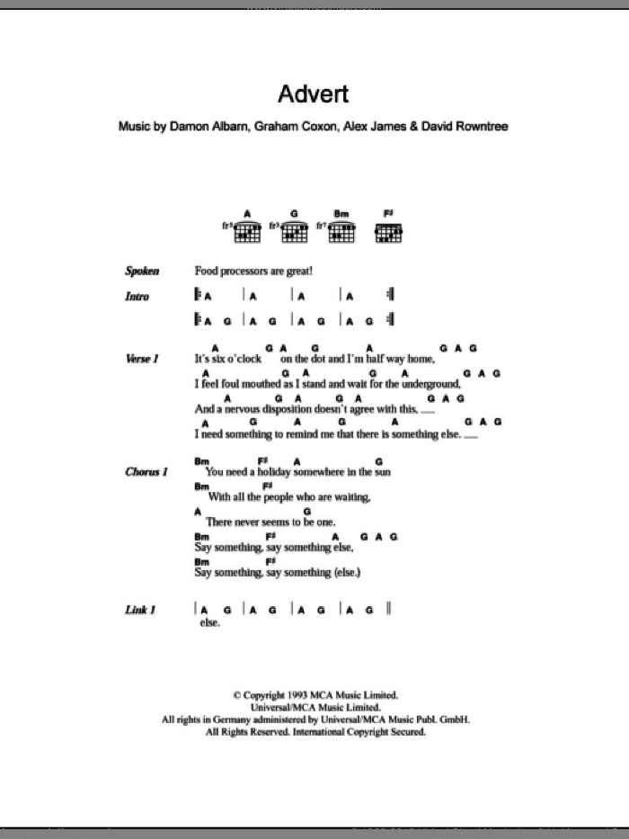 Advert sheet music for guitar (chords) by Graham Coxon
