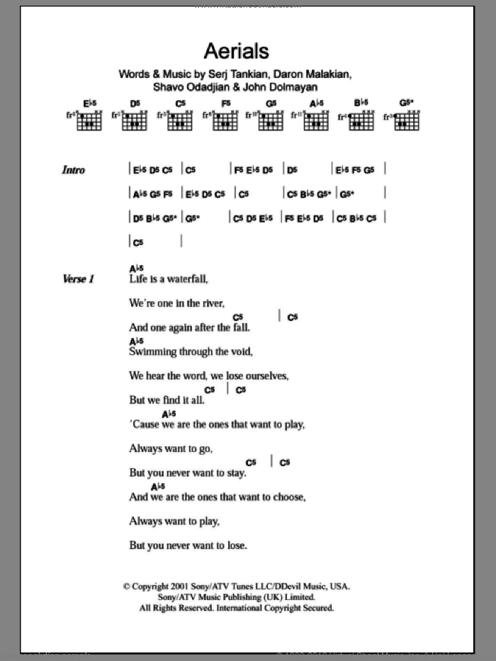 Aerials sheet music for guitar (chords, lyrics, melody) by Shavo Odadjian