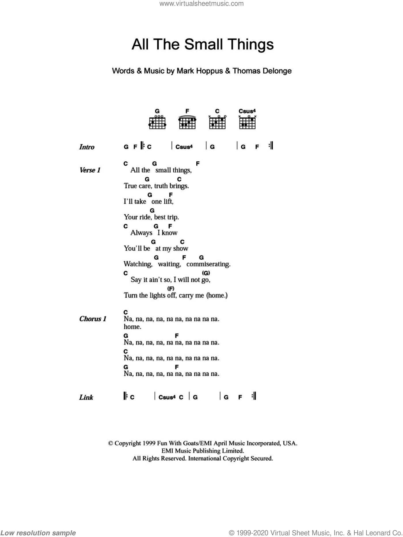 All The Small Things sheet music for guitar (chords) by Tom DeLonge, Blink-182 and Mark Hoppus. Score Image Preview.