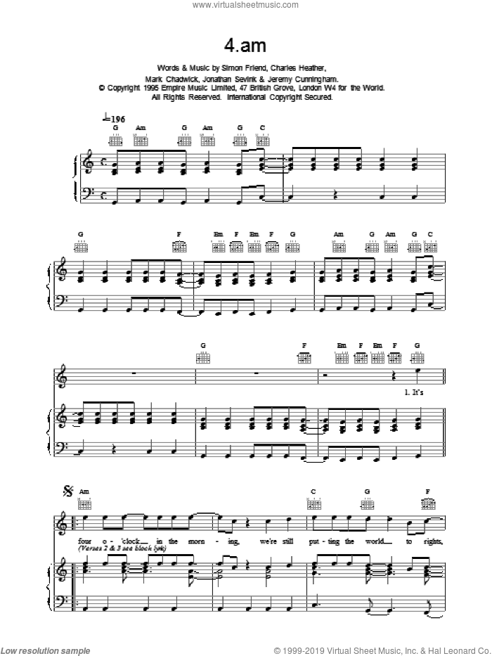 4am sheet music for voice, piano or guitar by Charles Heather and The Levellers. Score Image Preview.