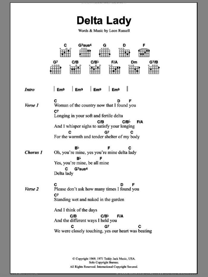 Delta Lady sheet music for guitar (chords) by Joe Cocker and Leon Russell, intermediate. Score Image Preview.