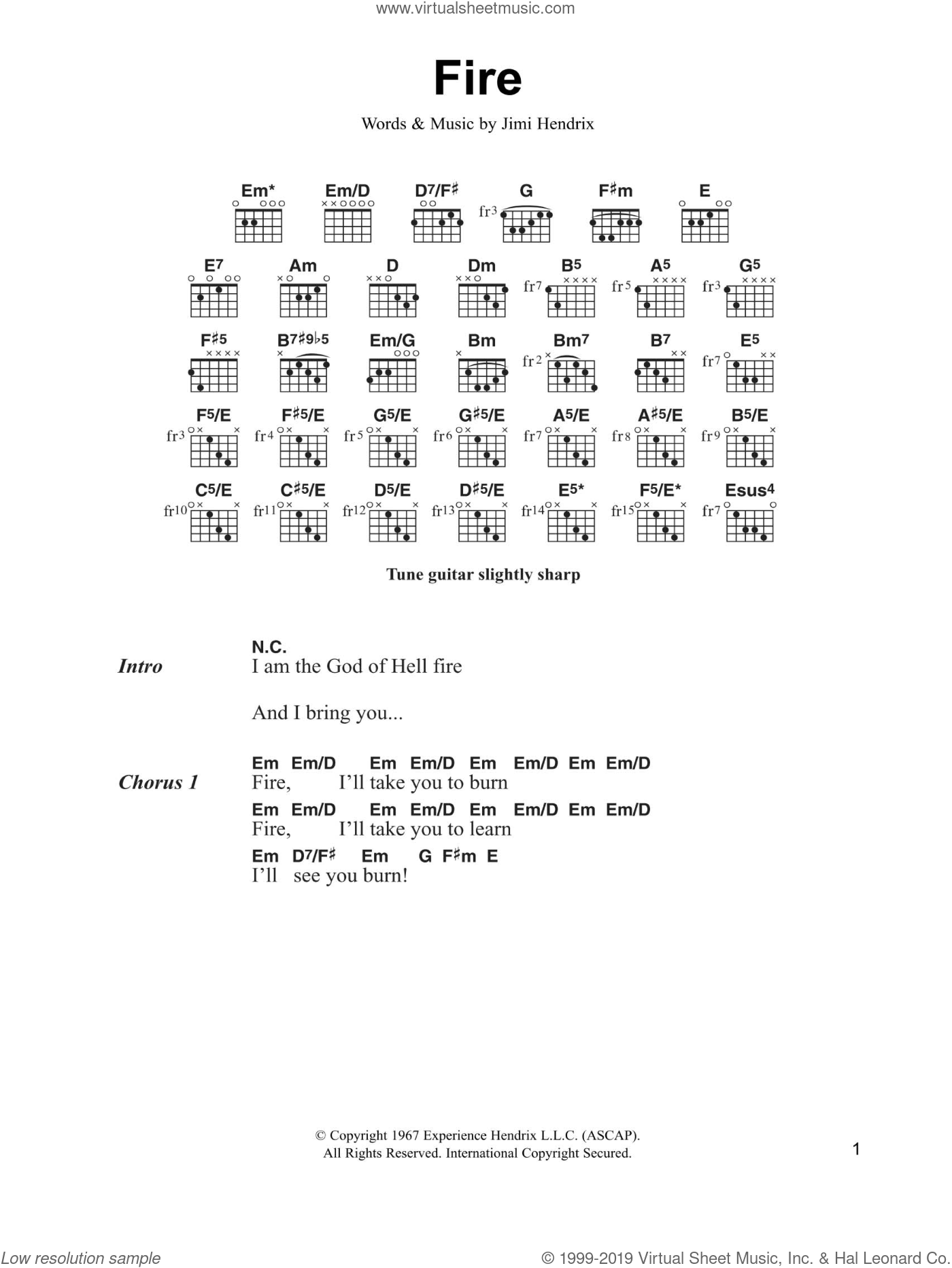 Fire sheet music for guitar (chords) by Jimi Hendrix. Score Image Preview.