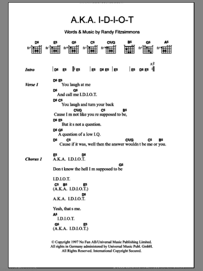 A.K.A. I-D-I-O-T sheet music for guitar (chords) by Randy Fitzsimmons